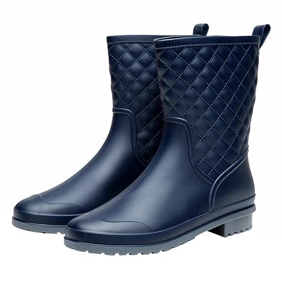 Women's Mid Calf Rain Boots Waterproof Rubber Booties Garden Shoes BL37 Navy best women's rainboots