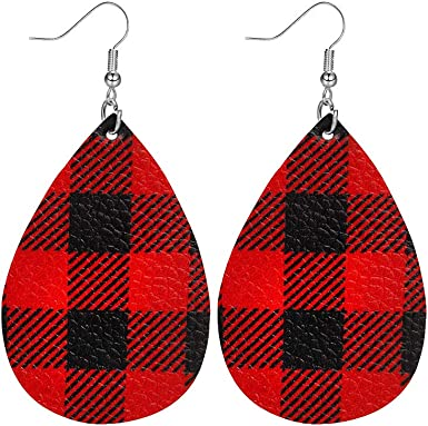 Pink /& Buffalo Plaid Earrings Leather Jewelry Pebbled Leather Earrings Stacked Earrings Summer Earrings Blush Jewelry