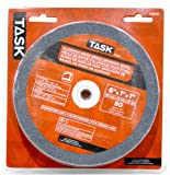 Task Tools T35645 6-Inch by 1-Inch Aluminum Oxide Bench Grinding Wheel, 80 Grit, 1-Inch Arbor