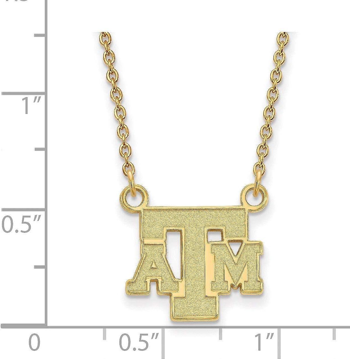 Lex /& Lu LogoArt Sterling Silver w//GP Texas A/&M University Small Pendant w//Necklace LAL142170
