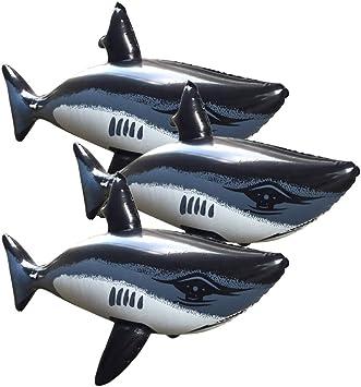 TOYANDONA 3 Piezas Juguetes Inflables de Tiburón, Juguetes Divertidos de Tiburón Juguetes para Jugar en El Agua Juguetes de Piscina para Niños (31.5 Pulgadas de Largo)