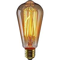 KINGSO E27 Ampoule Edison à Incandescence Vintage ST64 60W 220V Lampe Tungstène Décorative Ampoule Filament Classique Antique Dimmable Blanc Chaud