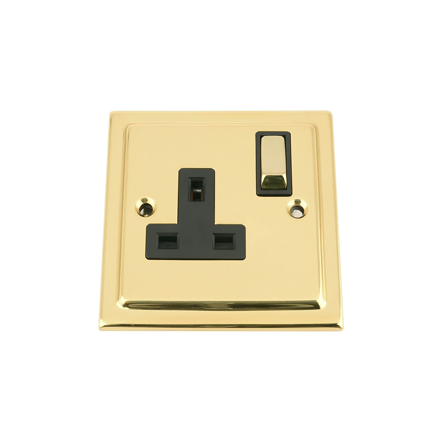 A5 Single Plug Socket 1 Gang 13A - Polished Brass - Victorian - Black Insert - Metal Rocker Switch A5 Products