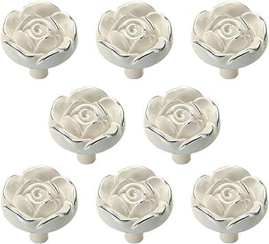 Antique Silver Drawer Knobs Rose Design Cabinet Knobs Dresser Knobs Drawer Pull Handles Pulls Handle Unique Hardware