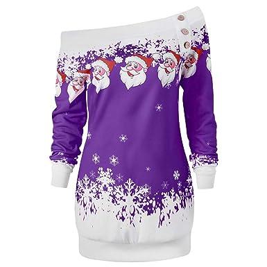 Abrigos Mujer, Hanomes Womens Christmas Skew Neck Papá Noel Copo de Nieve Tops Tops Blusa Sudadera: Amazon.es: Ropa y accesorios