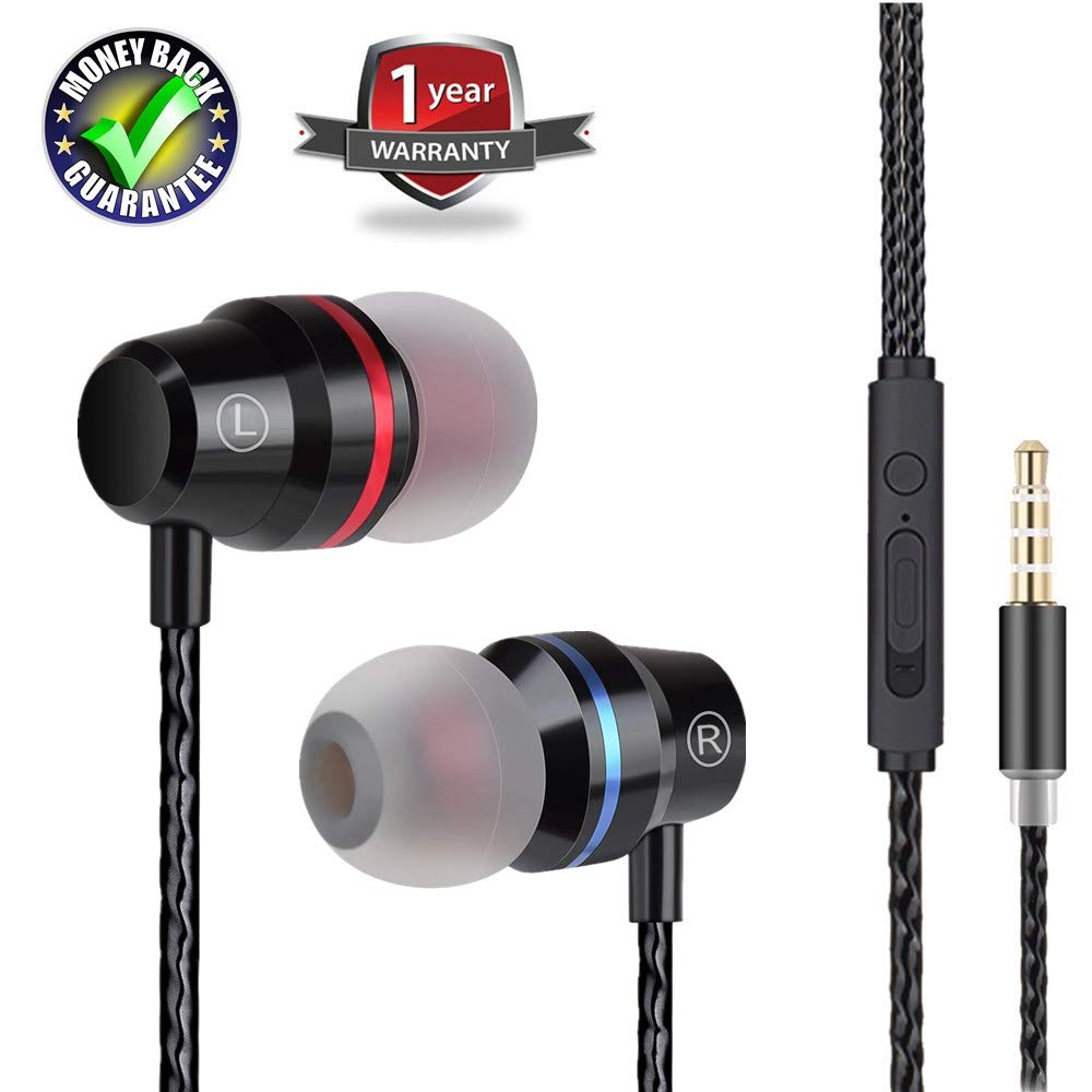Earbuds Ear Buds Earphones in Ear Headphones Stereo with Microphone Mic and Volume Control Wired Waterproof for iPhone Samsung Android Smartphones Mp3 Players Tablet Laptop 3.5mm Audio