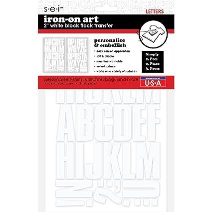 42651404a Amazon.com: SEI 9-161 2-Inch Block Letter Iron on Transfer, White, 2 Sheet