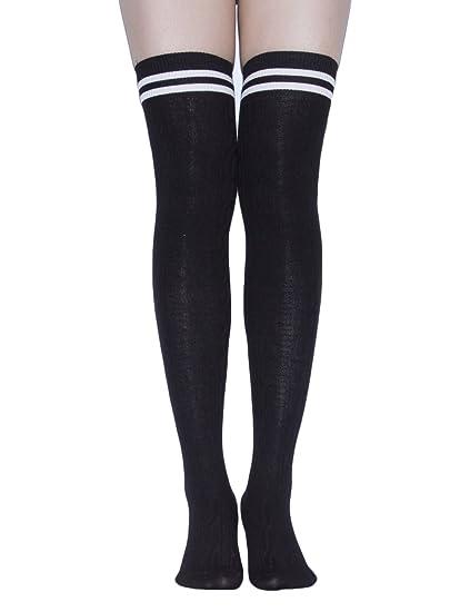 5c8bcb4cebc69 TooPhoto Womens Thigh High Socks Over Knee Stockings Rainbow Stripes  Colorful B 1 Pair-Black