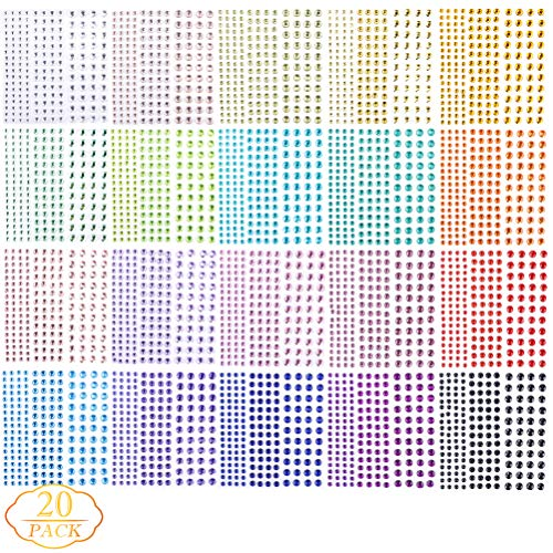 3300 Pieces Self Adhesive Colorful Rhinestone Stickers - Assorted 20 Colors & 3 Sizes - Ideal for DIY,Face, Art, Decoration, Festival, Carnival, Crafts & Embellishments ()