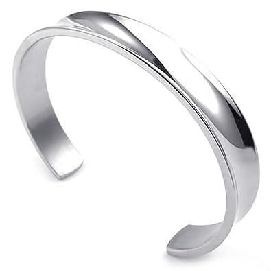 Brazalete - SODIAL(R) pulsera de joyeria de hombres y mujeres, brazalete, acero inoxidable, plata