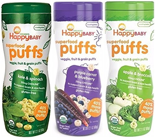 Happy Baby Organic Puffs 2.1 Oz Mixed 3 Pack (1 Kale & Spinach, 1 Apple & Broccoli, 1 Purple Carrot & Blueberry)