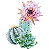 Wallmonkeys Watercolor Cactus Peel and Stick Wall Decals WM254995 (18 in H x 18 in W)