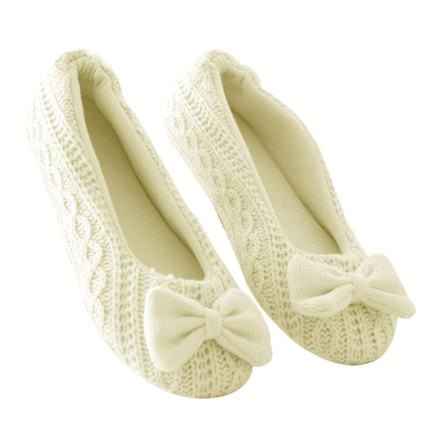 Elaco Women's Indoor Home Cozy Winter Warm Cashmere Bow Cusual Ballet Lazy Flats Loafers Shoes