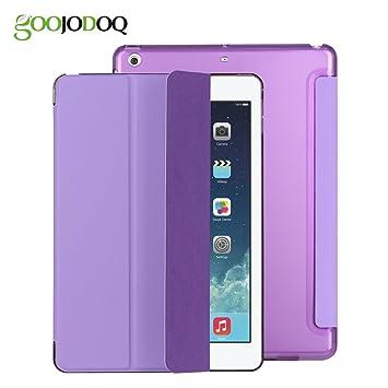 Funda para iPad air 1 - GOOJODOQ Funda Elegante de Cuero con Cubierta Delgada de Pu con Estuche Rígido Translúcido Función Auto Despertador y Estuche ...