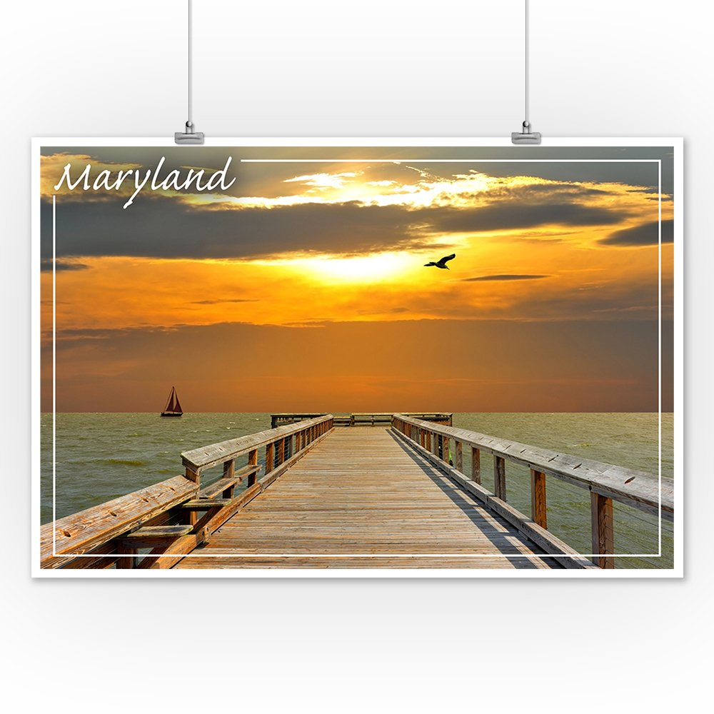Maryland 24x36 Giclee Gallery Print, Wall Decor Travel Poster Chesapeake at Sunset