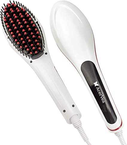 AcerVea® Hair Straightener Straightening Brush electric Compact Faster Heating Detangling Ceramic Styling Tool Easy to Use and Carry Hairstyling Done