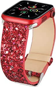 Bling Bands Compatible with Apple Watch Band 38mm 40mm 42mm 44mm Women, Iwatch Strap Shiny Bling Glitter Leather Replacement Wristband for Apple Watch Series 6 5 4 3 2 1 SE Sport Edition (Red)