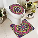 SOCOMIMI 2 Piece Toilet mat Set Decor Geometric Floral Meditation Design Psychedelic Round Accessories Pink Navy Blue 2 Piece Shower Mat Set