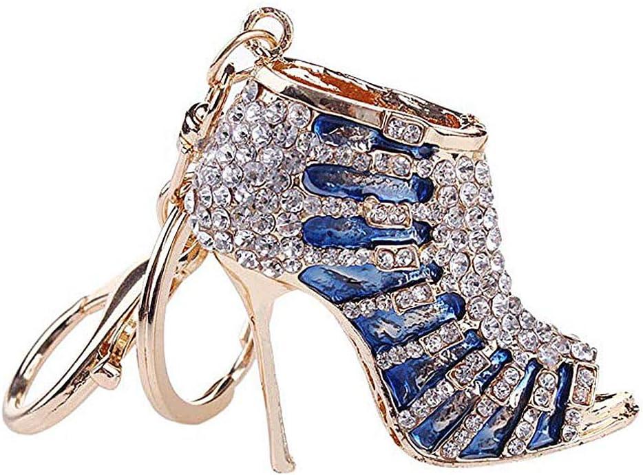Crystal Shoe High Heel Keyring Rhinestone Purse Charm Pendant Bag Key Chain SP
