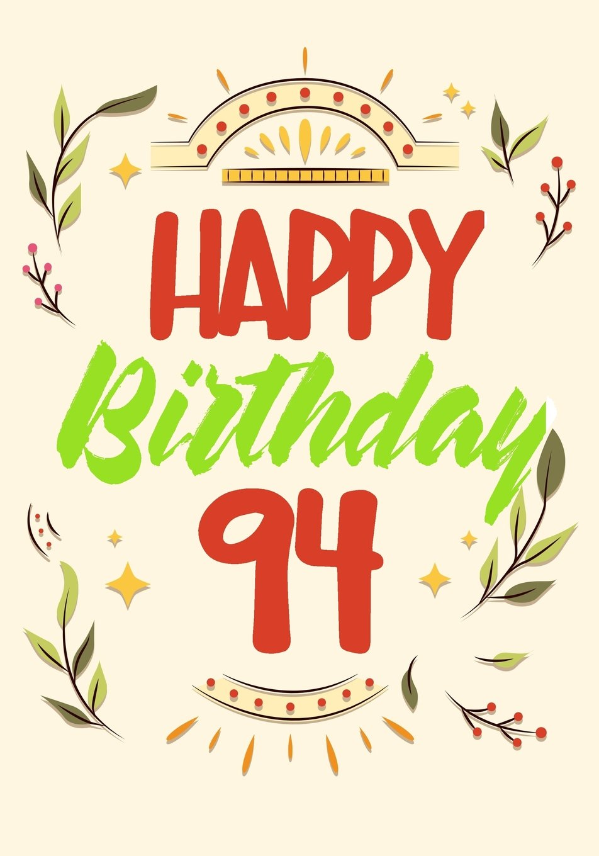 Happy Birthday 94 Keepsake Journal Notebook For Best Wishes