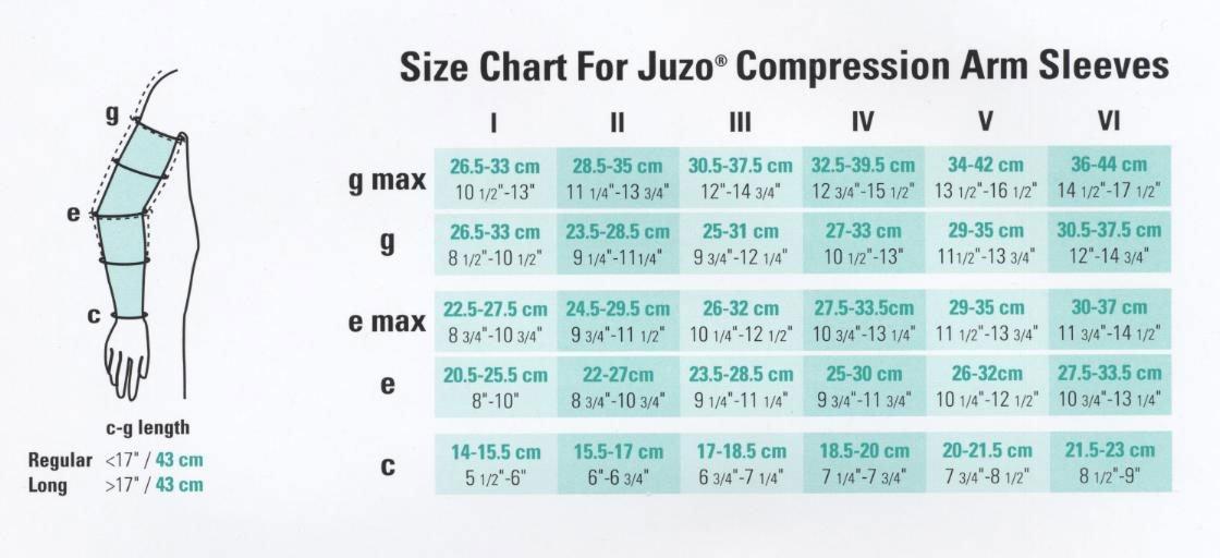 Juzo Soft 2001CG Armsleeve 20-30mmHg w/ Silicone Top Band Model: 2001MXCG - MAX, Size: II - Small, Length: R-Regular, Color: Beige 14