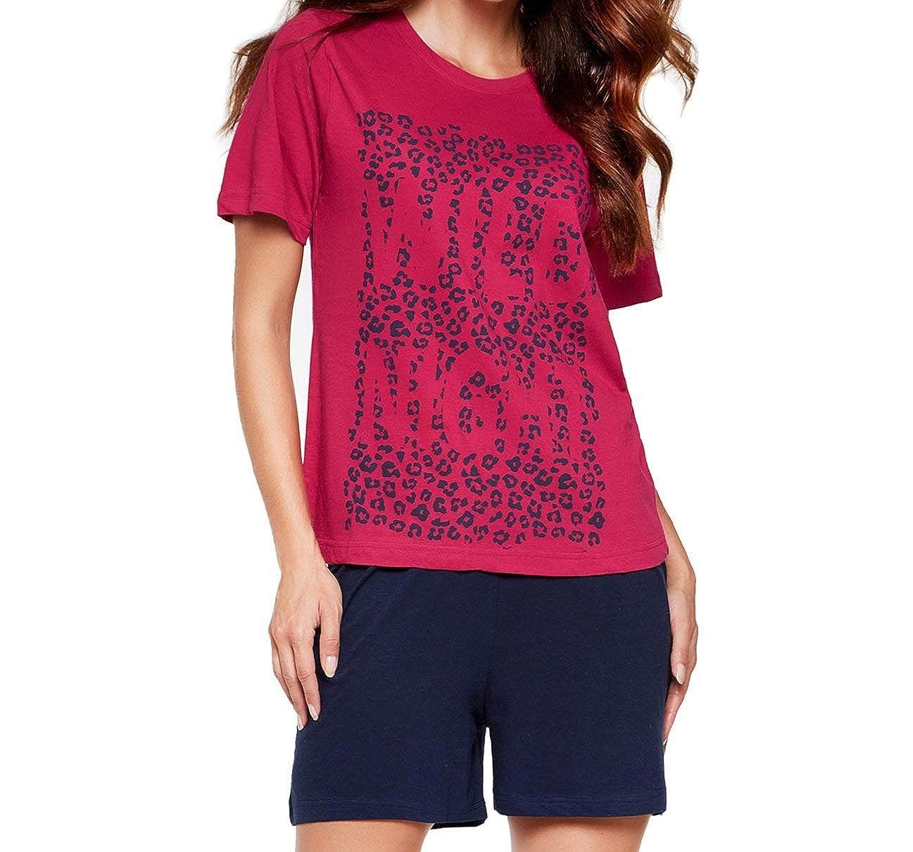 59096ac465abed Moonline moderner und bequemer Damen Pyjama/Shorty/Capri Schlafanzug, mit weicher  Baumwolle, in verschiedenen Designs: Amazon.de: Bekleidung