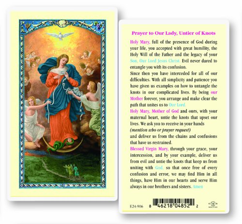 - Blessed By His Holiness Pope Francis Our Lady Untier of Knots Laminated Holy Card