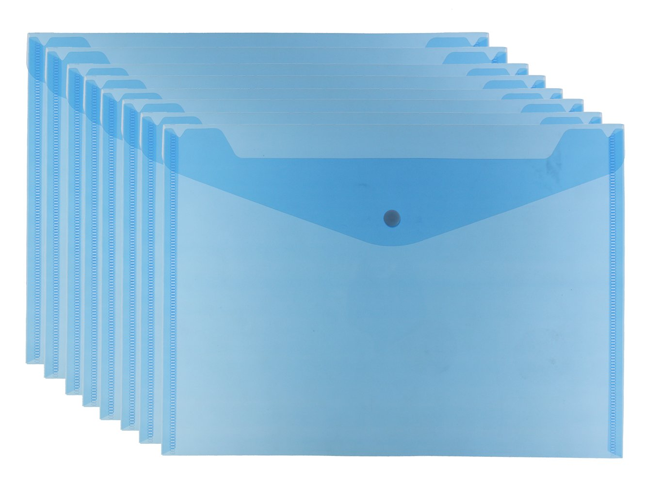 Bird Fiy 12PCS Clear Document Folder With Snap Button,Premium Quality Poly Envelope, US Letter/A4 size (Blue)