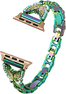 Bling Band Compatible with Apple Watch Band 38mm 40mm 42mm 44mm, Diamond Rhinestone Stainless Steel Replacement Women Jewelry Metal Wristband for iWatch Series 5/4/3/2/1 (Colorful, 38mm/40mm)