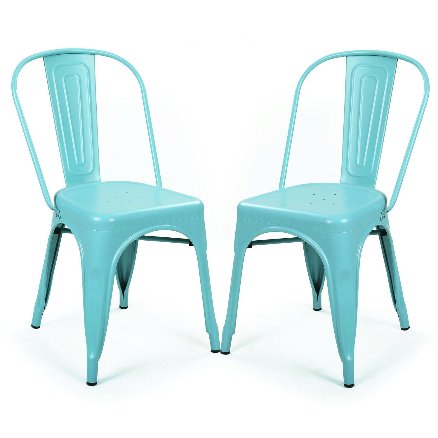 b ie UTF8&node kitchen chairs with arms Adeco Metal Stackable Industrial Chic Dining Bistro Cafe Side Chairs Blue Set of 2