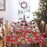 Wmbetter Christmas Tablecloth Santa Snowflake Engineered Printed Xmas Table Runner 70 x 60inch Rectangular