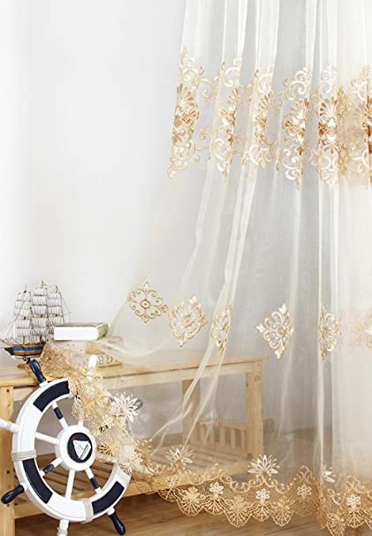 AiFish Delicate Embroidered Sheer Lace Curtain Drapes European Style Home Decor Window Treatment Floral Tulle Curtains