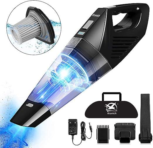 Kranich - Aspirador de mano inalámbrico 3 en 1, portátil, recargable, ligero y potente, 7000 PA, 120 W, húmedo y seco para casa, coche, oficina, animales: Amazon.es: Hogar