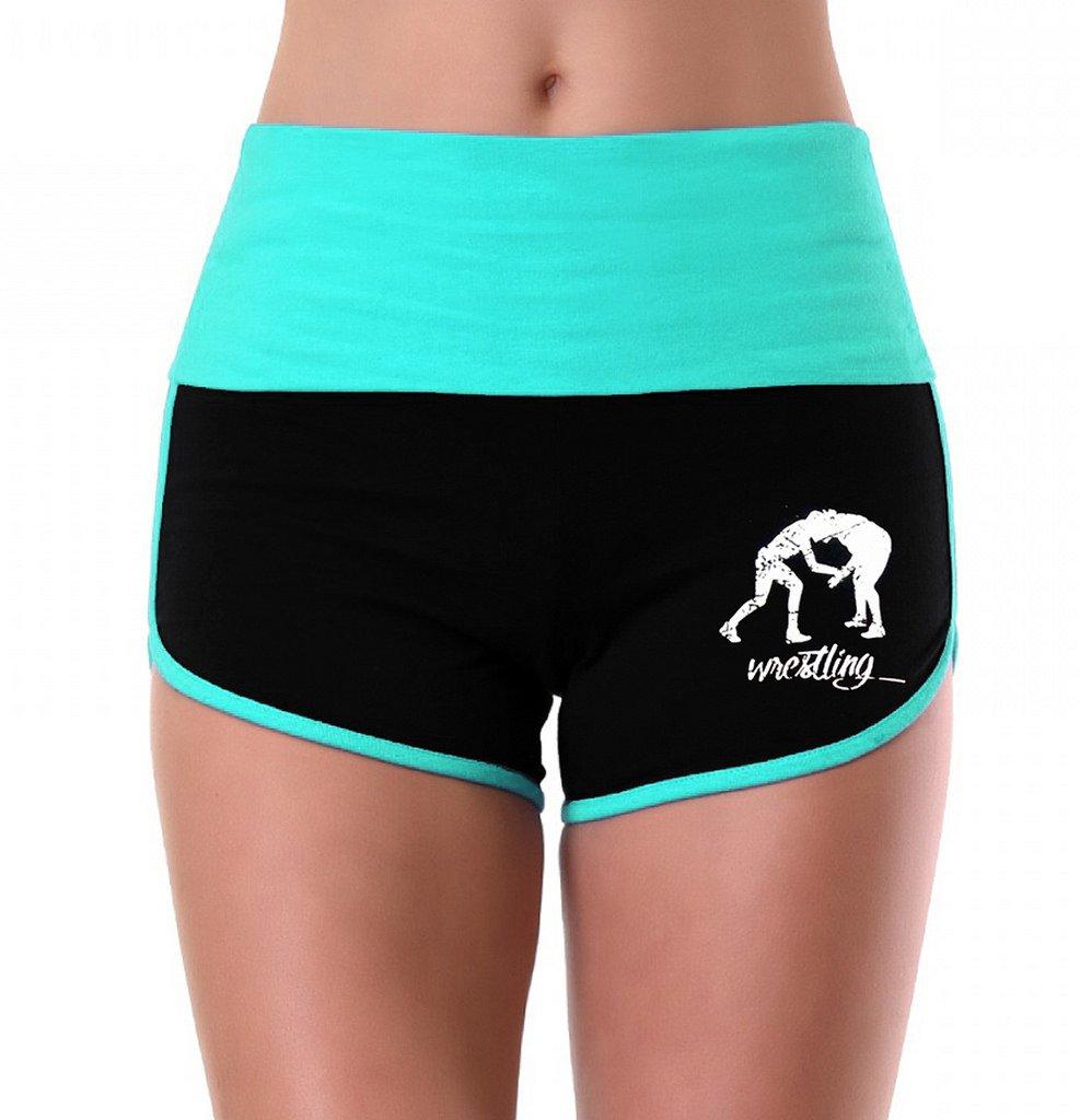 Women's MMA Wrestling Emblem Mint/Black Athletic Workout Yoga Shorts Large by Interstate Apparel