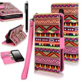 Galaxy S5 ACTIVE Case, Galaxy S5 Active Flip Case - E LV Deluxe PU Leather Folio Wallet Case Cover for Samsung Galaxy S5 Active SM-G870 (Water Resistant Model) with 1 Stylus - Tribal Colorful