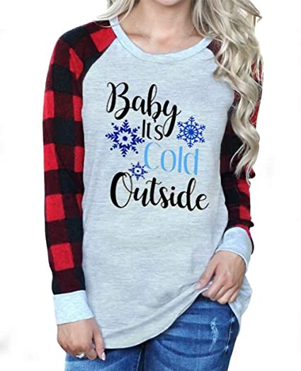 f5bf1f280 Amazon.com: Baby It's Cold Outside Christmas Baseball T-Shirt Long Raglan  Sleeve Plaid Splicing Tops Tees for Women: Clothing