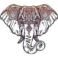 Divine Designs Red Purple Mandala Elephant Cartoon Pen Art Vinyl Decal Sticker