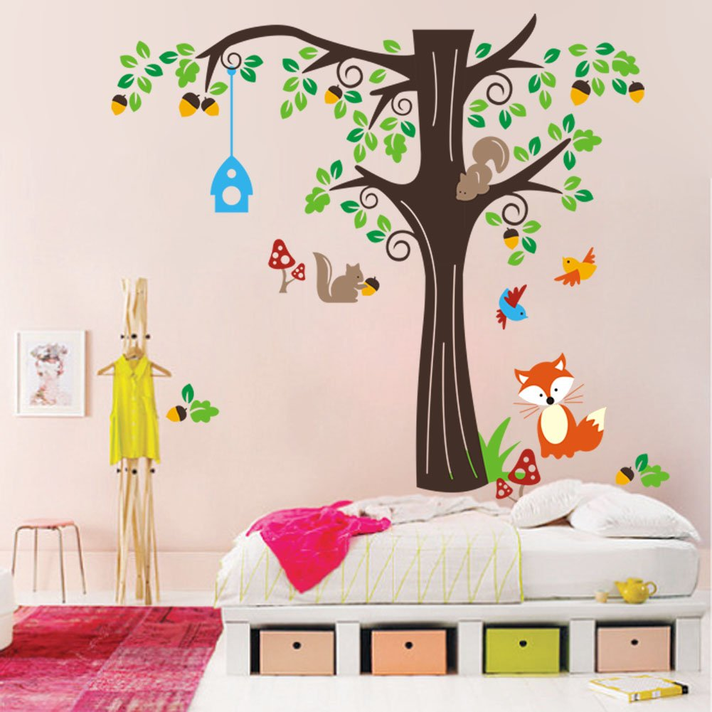 Amazon.com: 150 X134cm Nursery Forest Animals Birds Fox Squirrel Mushrooms  Trees Wall Art Stickers Decal For Nursery Home Decor Boys And Girls Children  ... Part 60