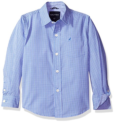 Nautica Boys' Little Long Sleeve Gingham Woven Shirt, French Blue, Extra Large (7X) -