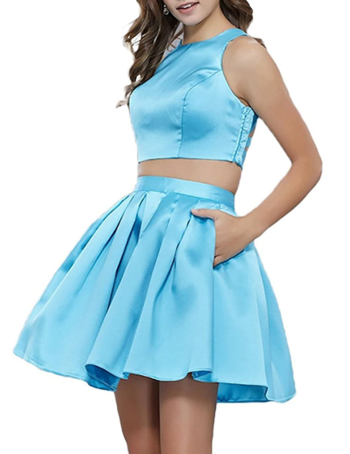 bluee Yiweir Women's Short Two Piece Homecoming Dresses 2018 Formal Prom Gown H035
