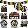 Amscan Black, Gold & Silver Hollywood Movie Themed Party Decorating Kit, Paper, Pack of 10 Costume
