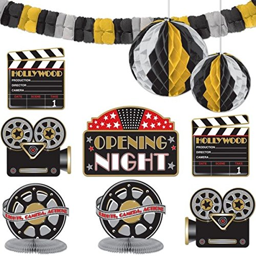 Amscan Hollywood Movie Themed Party Decorating Kit (10 Piece), Black/Gold/Silver, 15.5 x (Movie Party Decorations)