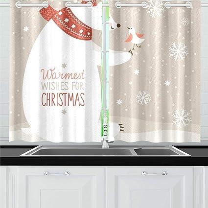 JOCHUAN Natale Orso Bianco Birdy Cucina Tende Finestra Tenda ...