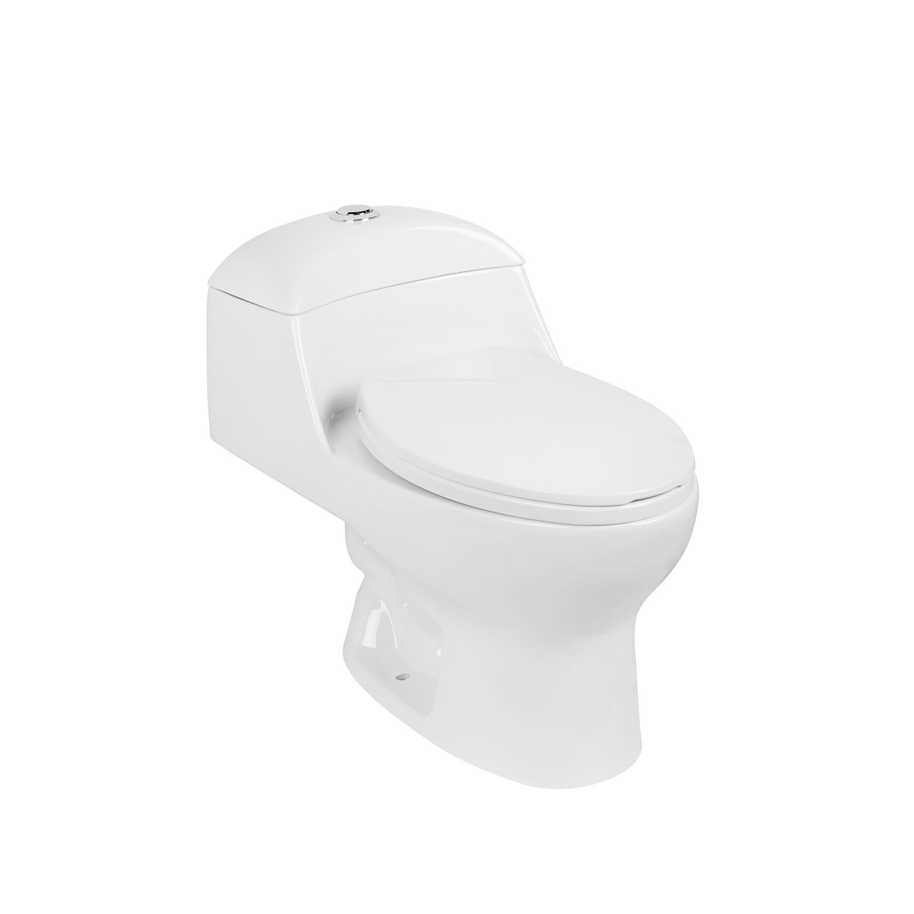 MAYKKE Caspian One-Piece Toilet with Elongated Seat | Dual Flush Siphonic Jets 1.6 GPF and 12'' Rough In | Low Tank for a Modern, Compact Profile | High Efficiency, Low Consumption | White JXA1000101