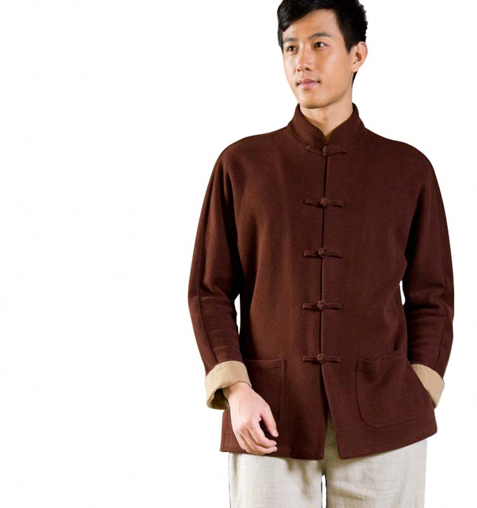 Katuo Traditional Cotton Coat Stand Collar Mens Blouse Original Design (M, coffee)