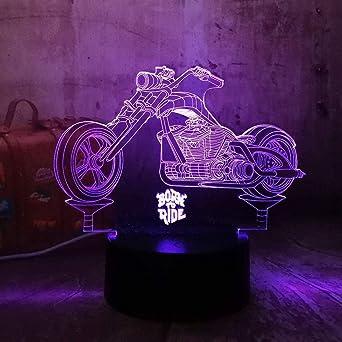 Cool Geboren Um Motorrad 3d Led Nachtlichter Rgb 7 Farben Usb Touch Schlafzimmer Tischlampe Home Party Dekor Kinder Geschenk Lava Zu Fahren Amazon De Beleuchtung