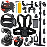 Leknes Outdoor Sports Essentials Kit for GoPro Hero 4 3+ 3 2 1 and Sj4000 Sj5000 Sport camera in Parachuting Diving Surfing Rowing Running Cycling Camping And More Includes: Aluminum Alloy Extendable Selfie Stick Handheld Monopod, etc.