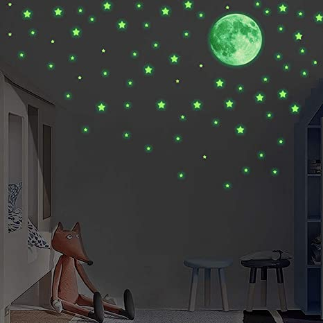 Amazon Com Glow In The Dark Stars For Ceiling Or Wall Stickers Realistic Stars And Full Moon For Starry Sky Glowing Ceiling Decals For Bedroom Shining Decoration For Girls And Boys 239stars 1moon Arts Crafts