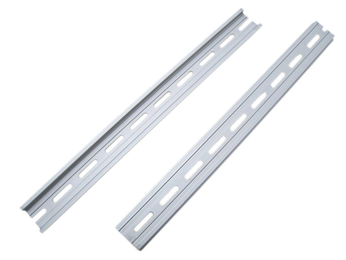 2x 35mm wide Aluminum Din Rail mounting equipment rack 33CM long surface finish