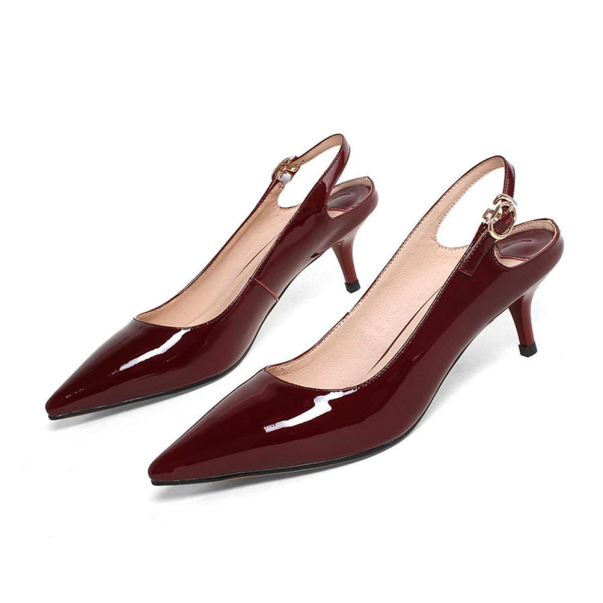 Eeayyygch Frauen Flache Sandalen Spitze Schnallen und und und Schuhe mit niedrigen Absätzen (Farbe   Weinrot Größe   34) 953d03